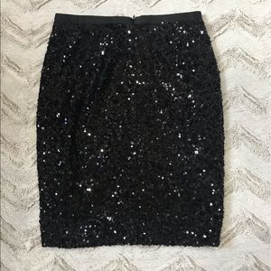 Ludi Black Sequined Pencil Skirt